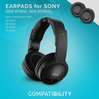 Sony MDR-RF985R Faux Leather Replacement Earpads - Suitable for other RF series Headphones