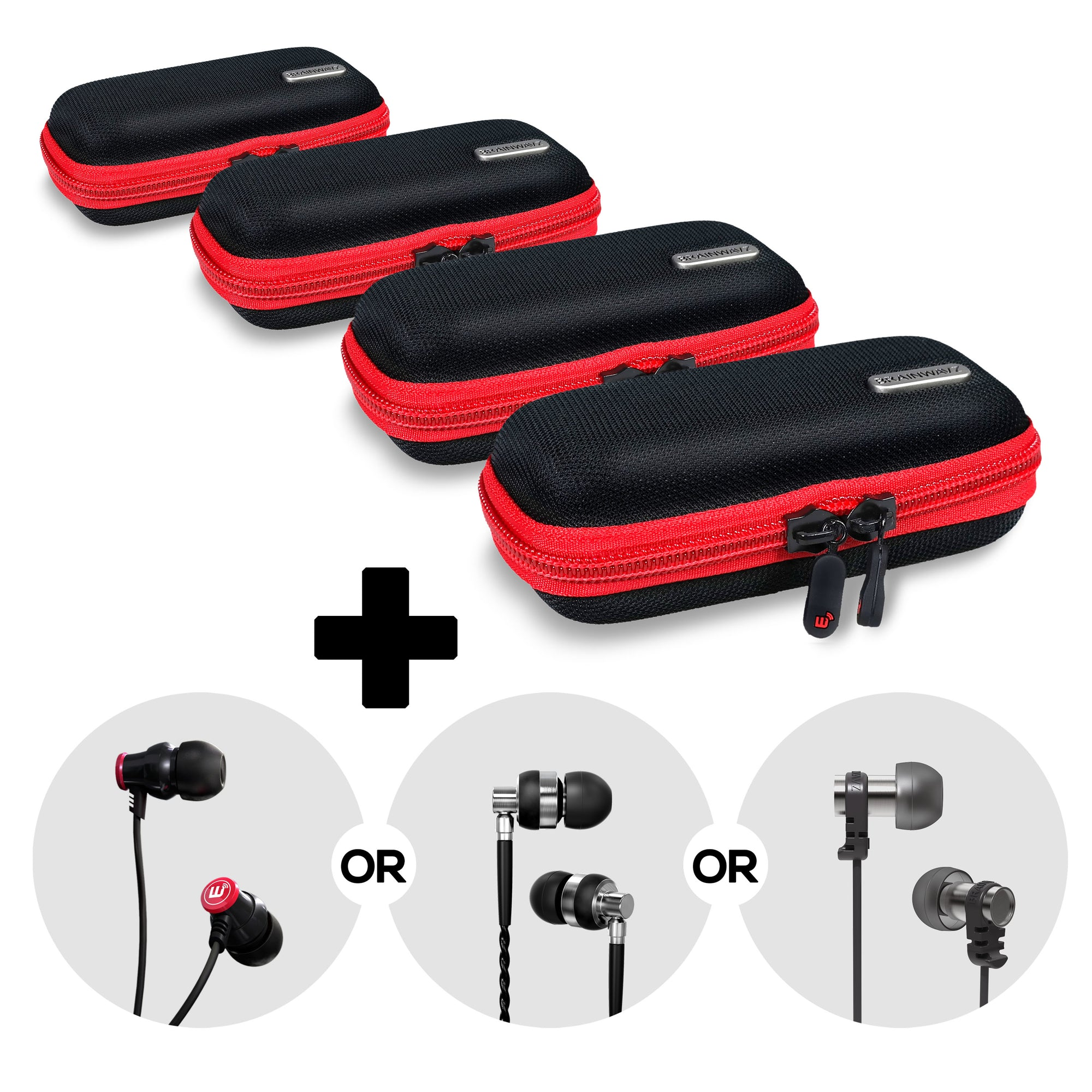 Wide Earphone Case Four Pack + Random Set of Earbuds - Bundle Deal