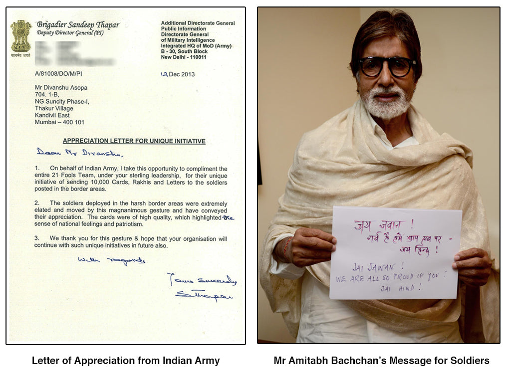 India says thank you 21 fools send 10000 thank you cards letters and rakhis to our soldiers posted in all different commands mr amitabh bachchan mr shashi tharoor and many other m4hsunfo