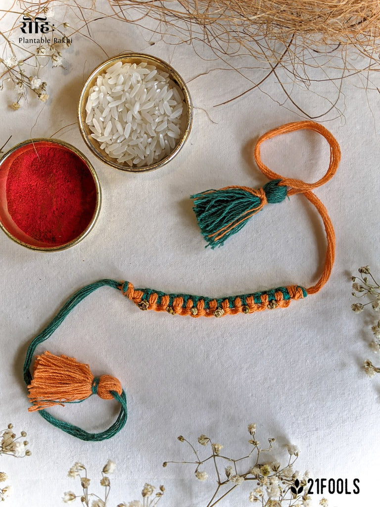 'Rohi' - Plantable Rakhi embedded with seeds / 'Amarbel ' + Mask