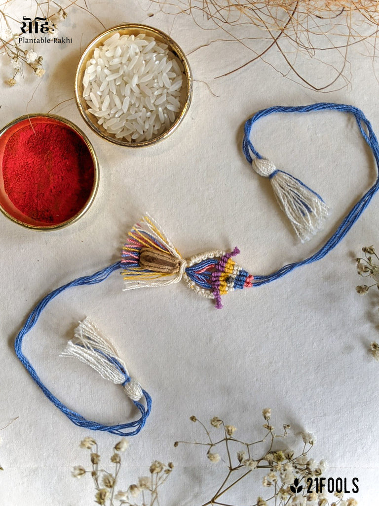 'Rohi' - Plantable Rakhi embedded with seeds / 'Water' + Cotton Masks