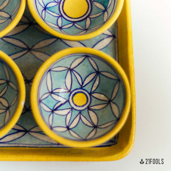 Blue Pottery Trays with Bowls / 'Kot Jewar' / Aasmani