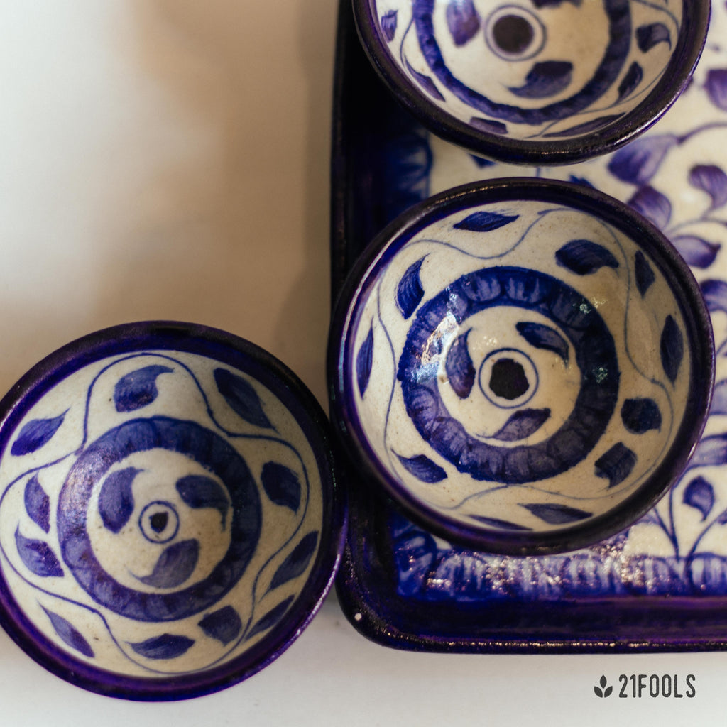 Blue Pottery Trays with Bowls / 'Kot Jewar' / Neel