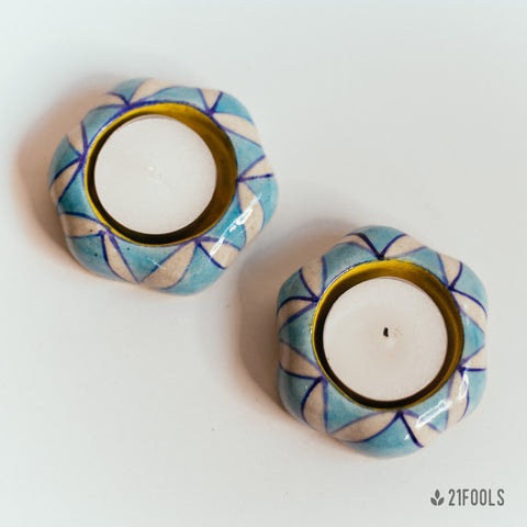 Blue Pottery Tea Light - Pack of 2  / Aasmani Phool