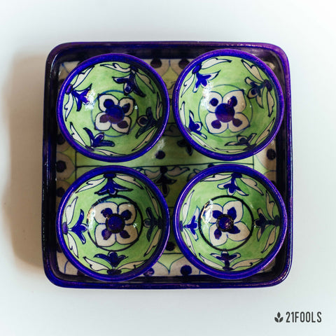 Blue Pottery Trays with Bowls / 'Kot Jewar' / Mehndi