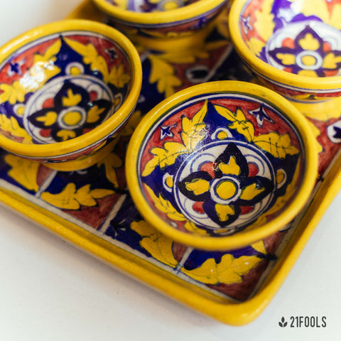 Blue Pottery Trays with Bowls / 'Kot Jewar' / Red Brick