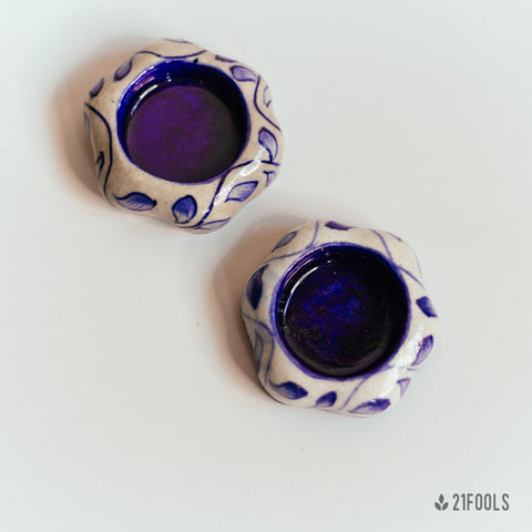 Blue Pottery Tea Light - Pack of 2  / Neela Phool
