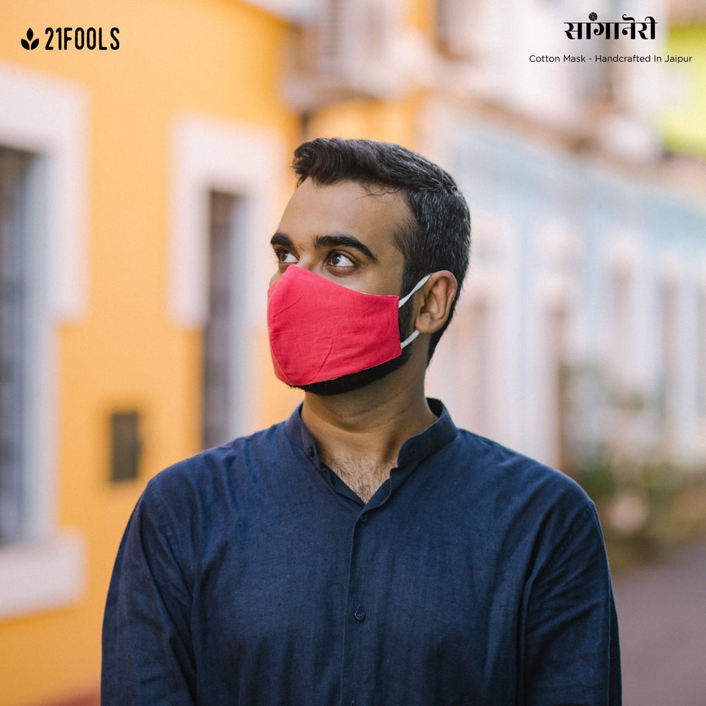 'Sanganeri' / 5 layer Face Mask- Pack of 3 / Laal