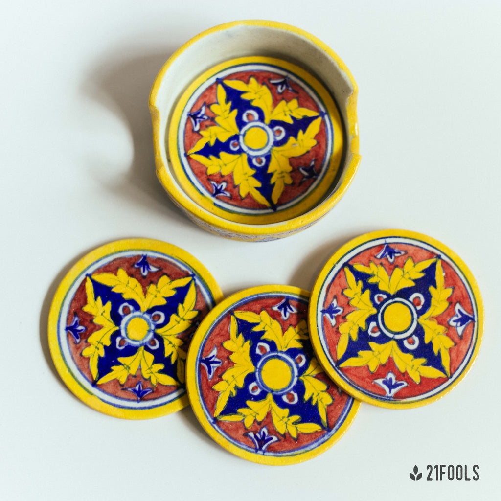 Blue Pottery Coaster Set / Red Brick