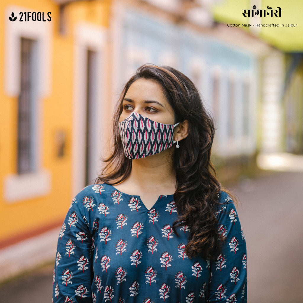 'Sanganeri' / 5 layer Face Mask- Pack of 3 / Double Ikat