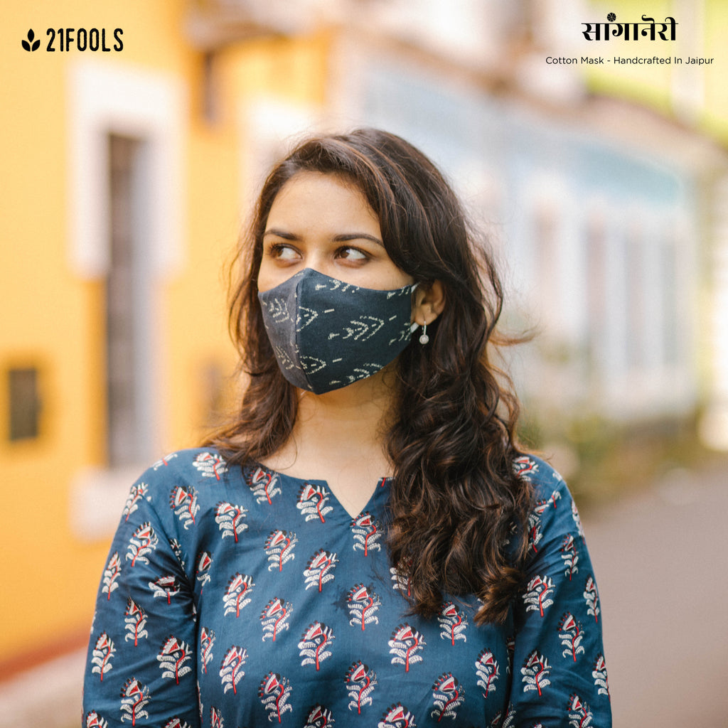'Sanganeri' / 5 layer Face Mask- Pack of 3 / Junglee Phool