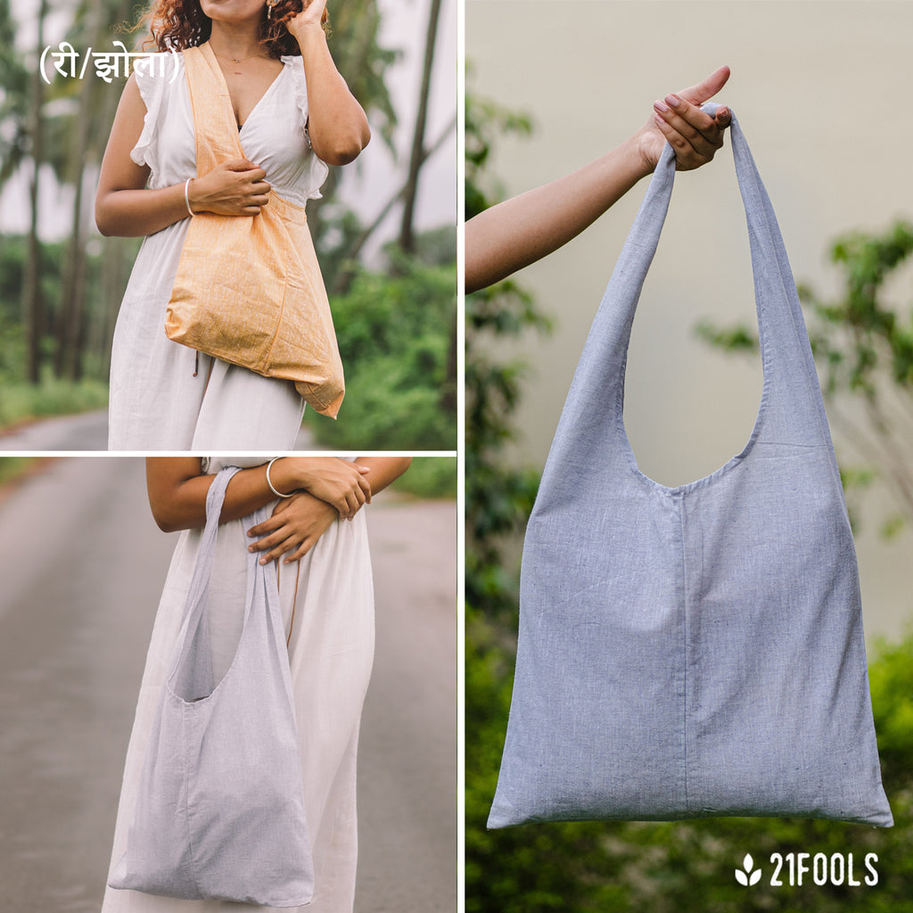 (री/झोला) - A Recycled Cotton Bag to carry essentials / Pack of 3