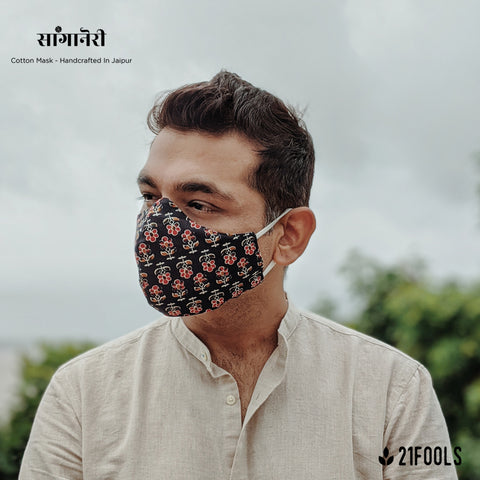 'Sanganeri' / Cotton Face Mask - Pack of 3 / Black Flowers