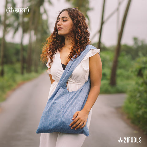 (री/झोला) - A Recycled Cotton Bag to carry essentials / Pack of 3 / Blue