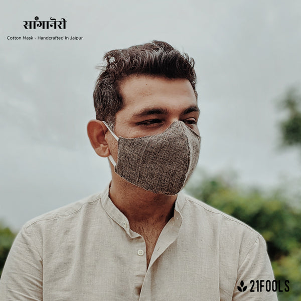 'Sanganeri' / Cotton Face Mask - Pack of 3 / Grey