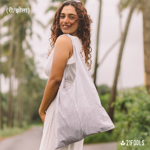 (री/झोला) - A Recycled Cotton Bag to carry essentials / Pack of 3 / Grey