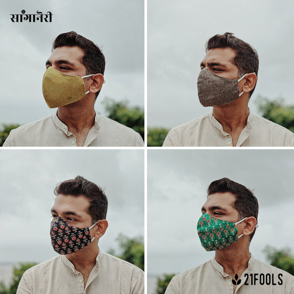 'Sanganeri' / Cotton Face Mask - Multi Design / Pack of 4 / Option 2