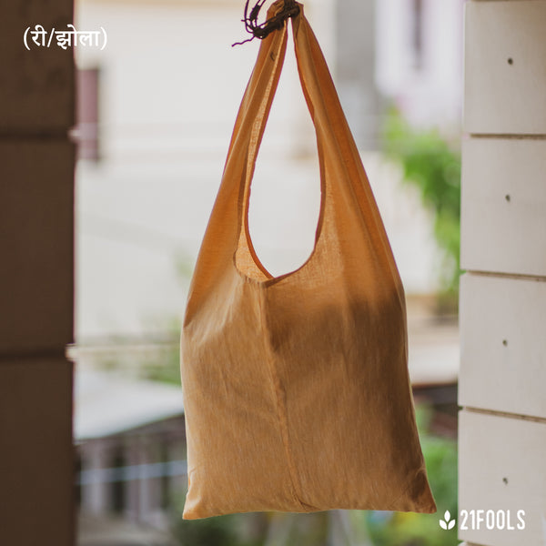 (री/झोला) - A Recycled Cotton Bag to carry essentials / Pack of 3 / Peach