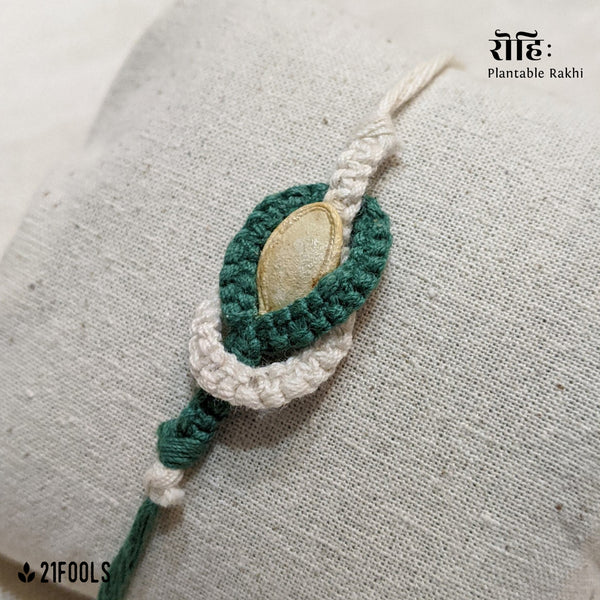 'Rohi' - Plantable Rakhi embedded with seeds / 'Mutualism' + Cotton Mask