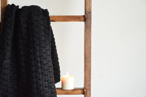 Shanti Weave Black Throw | Woven Stories