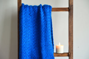 Royal Blue Scarf with Pom Poms | Woven Stories