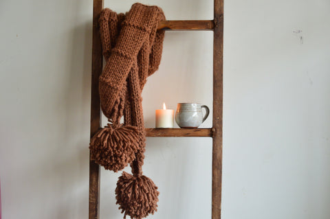 Double Wrap Knit Scarf Coffee | Woven Stories