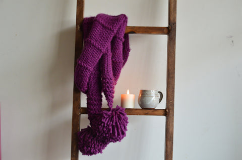 Double Wrap Knit Scarf Mauve| Woven Stories