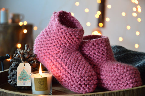 Pastel Wine Booties & Bed Socks | Woven Stories