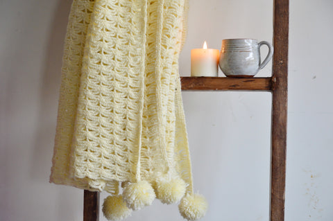 Shanti Weave Off White Throw with Pom Pom | Woven Stories