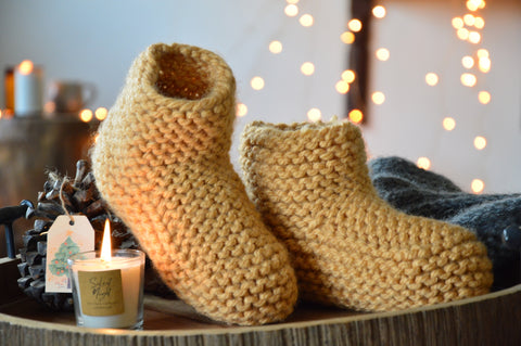 Beige Booties & Bed Socks | Woven Stories