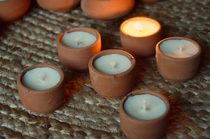 Terracotta Soy Tea Lights | Mogra
