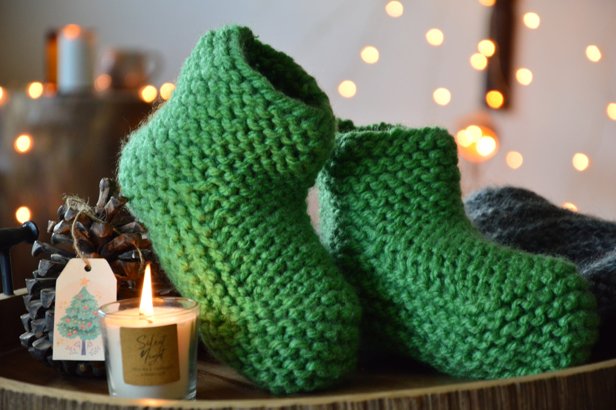 Pastel Green Booties & Bed Socks | Woven Stories