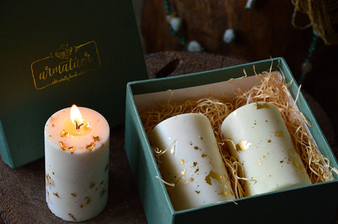 Gift Box with Pine & Roseville Shimmer Soy Pillars | Festive Lumineries