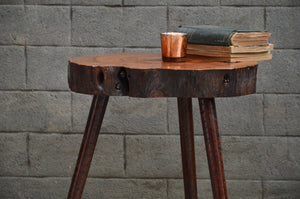 Rustic Log Corner Table