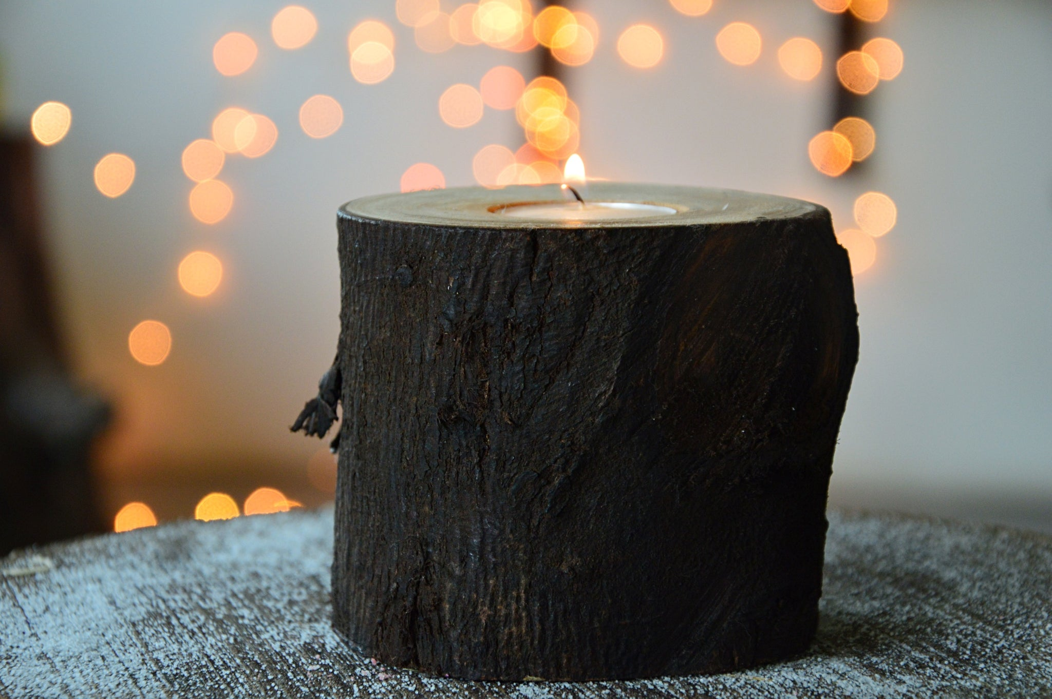 Log Tea Light Holder