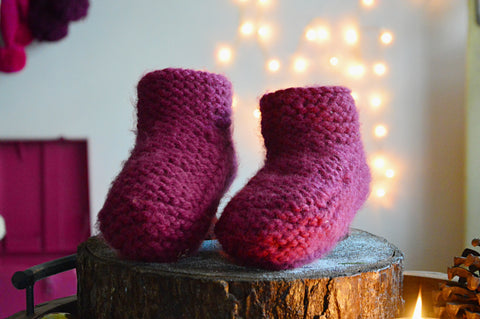 Cerise Booties & Bed Socks | Woven Stories