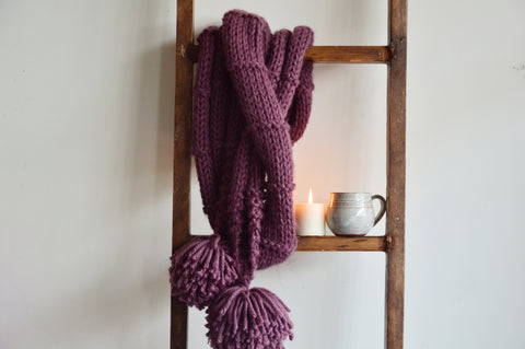 Pastel Wine Double Wrap Knit Scarf | Woven Stories