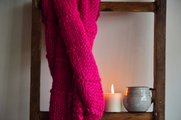Double Wrap Knit Scarf Hot Pink | Woven Stories