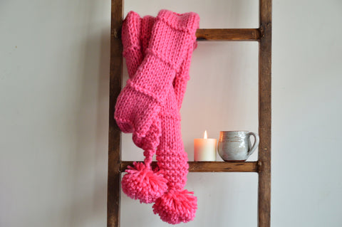 Double Wrap Knit Scarf Pink | Woven Stories