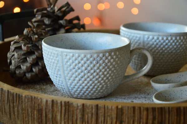 White Soup Bowls with Ceramic Spoons | Set of 2