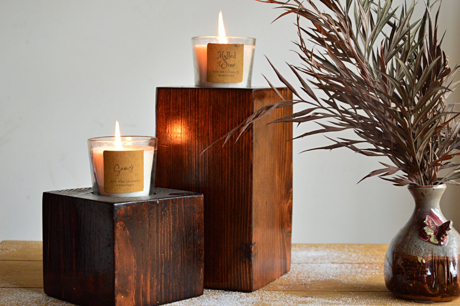 Wooden Candle Holders | Snowy & Mulled Wine