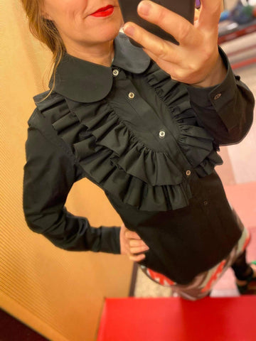 Black Ruffled Bib shirt