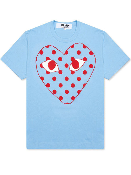 PLAY PASTELLE POLKA DOT LOGO T-SHIRT BLUE