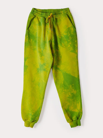 CLASSIC SWEATPANTS LIME GREEN TIE-DYE