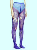 Blue Knit Mesh Tights