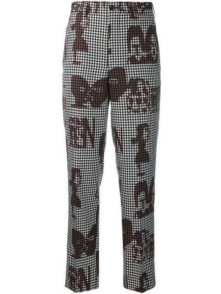 printed faces trousers