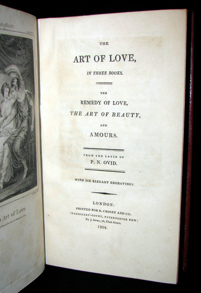 1804 Rare Book - OVID's  Art of Love in 3 books  Illustrated with 6 copperplates.