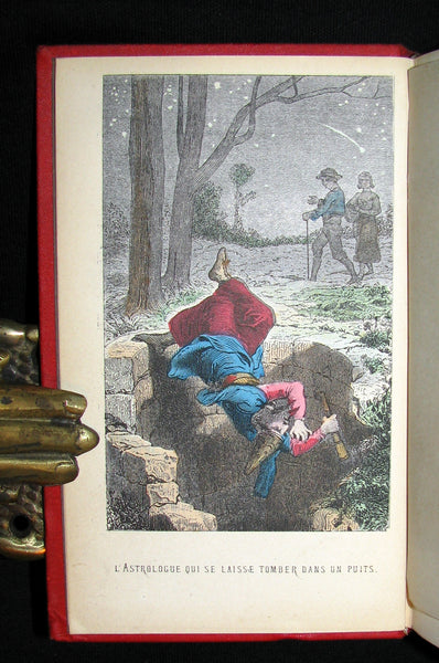 1890 Rare COLOR illustrated French Book ~ FABLES de LA FONTAINE