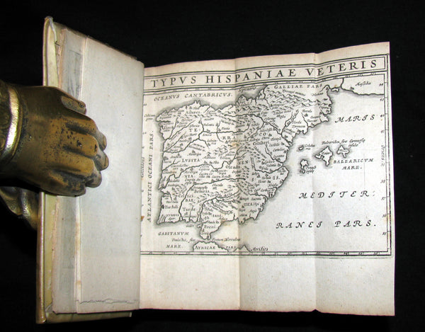 1664 Rare vellum Latin Book - Works of Julius Caesar, The Gallic War, Civil War, ... with MAPS