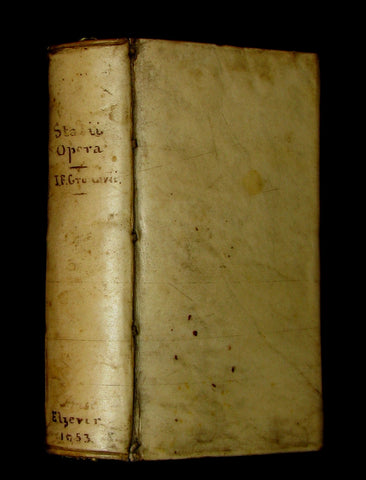 1653 Rare Latin Vellum Book - Publius Papinius Statius Works - Roman poet of the 1st century AD